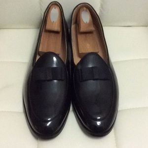 Men's Black Leather Bow tie Loafers